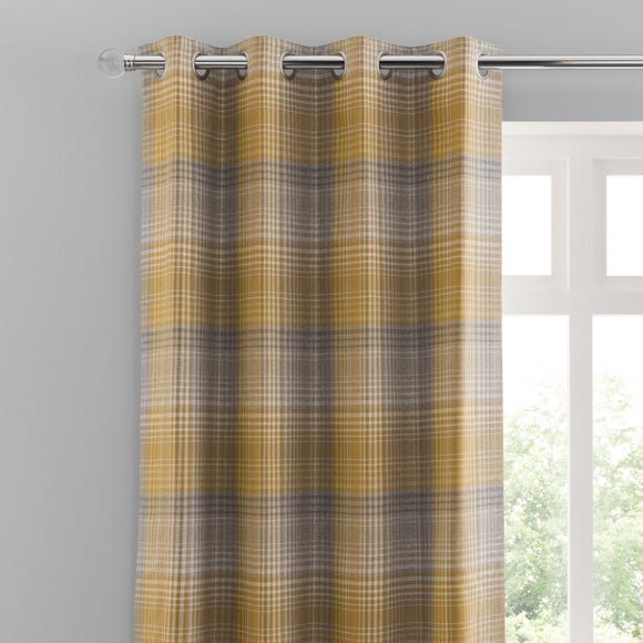 Logan Check Ochre Eyelet Curtains  undefined