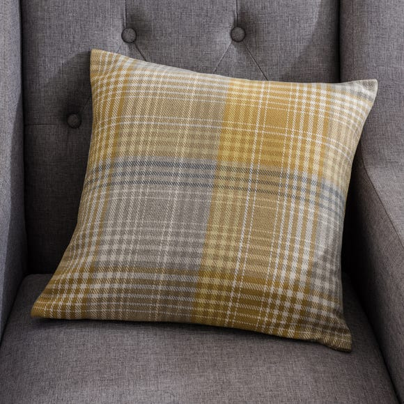 Logan Check Ochre Cushion Ochre