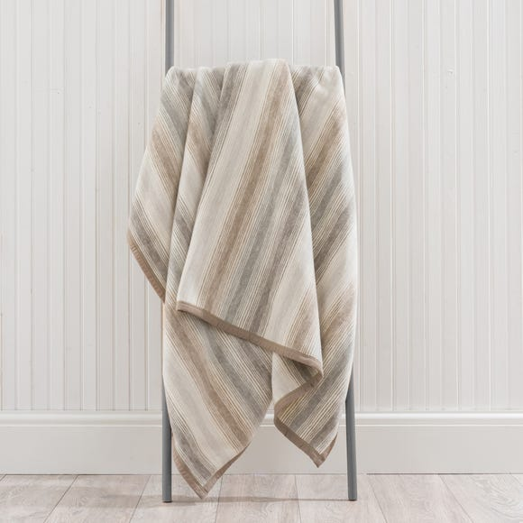 Thermosoft Ombre Stripe Natural Throw  undefined