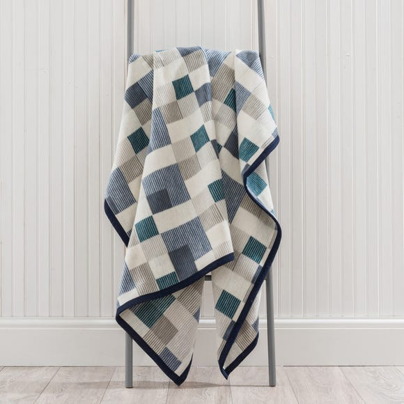 Thermosoft Mini Check Blue Throw  undefined