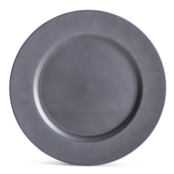 Grey Glitter Charger Plate Grey