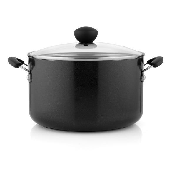 Dunelm Aluminium 6.2 Litre Stock Pot Black