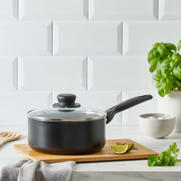 Dunelm Essentials Aluminium 20cm Saucepan Black