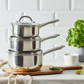 Dunelm Essentials 3 Piece Stainless Steel Pan Set