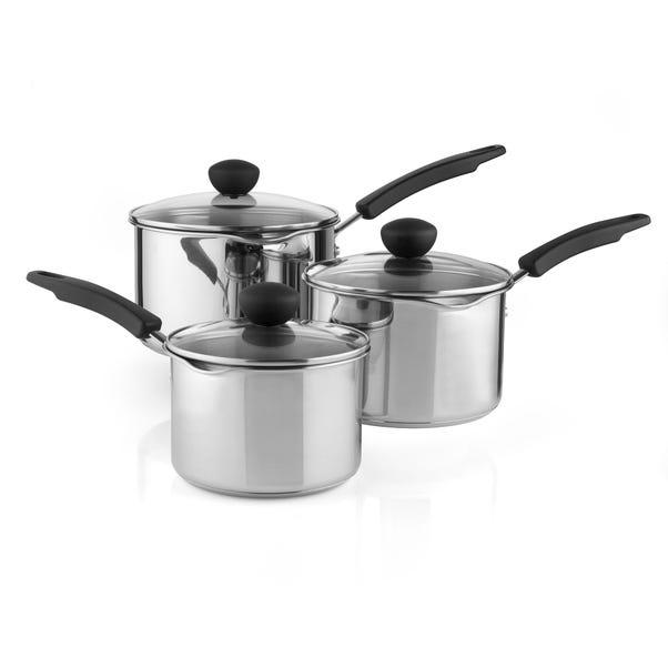 Dunelm Stainless Steel 3 Piece Saucepan Set Silver
