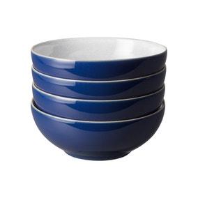 Set of Four Denby Elements Dark Blue Cereal Bowls