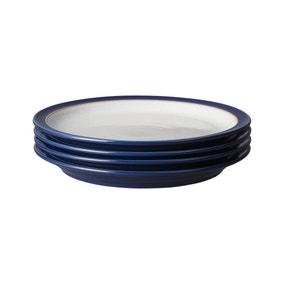 Set of Four Denby Elements Dark Blue Dinner Plates