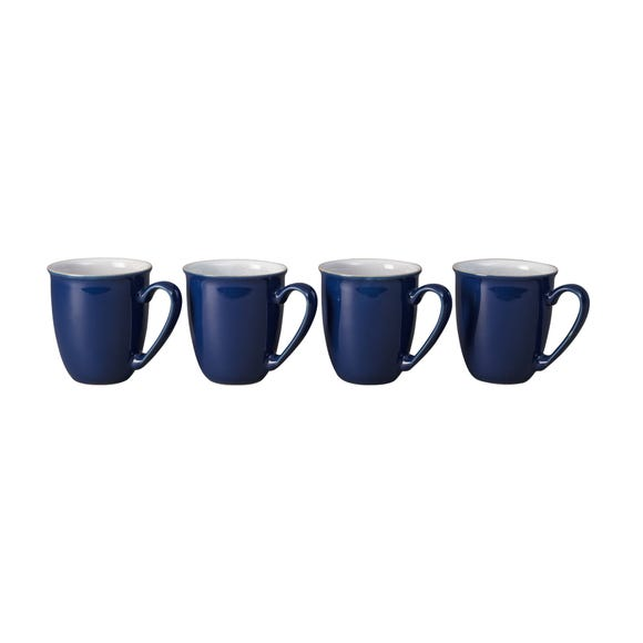 Set of Four Denby Elements Dark Blue Mugs Blue
