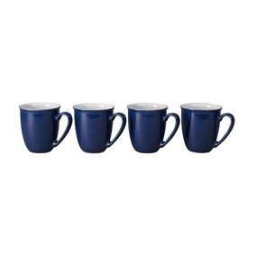 Set of Four Denby Elements Dark Blue Mugs