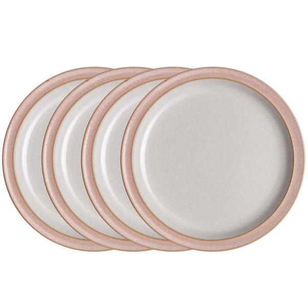 Set of Four Denby Elements Sorbet Pink Dinner Plates Pink