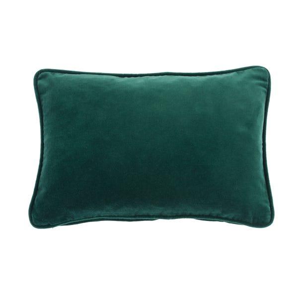 Clara Cotton Velvet Rectangular Emerald Cushion Emerald