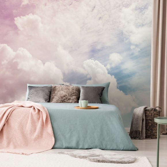 Dreamscape Clouds Wall Mural Pink