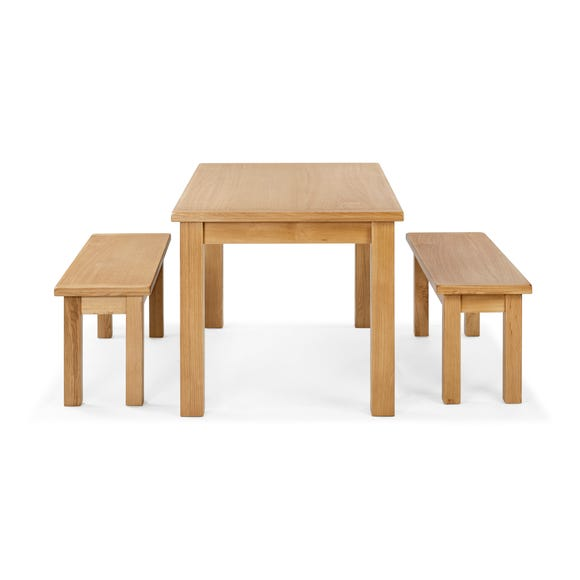 Sherbourne Oak Dining Table and Bench Set Natural