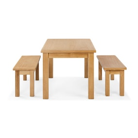 Sherbourne Oak Dining Table and Bench Set