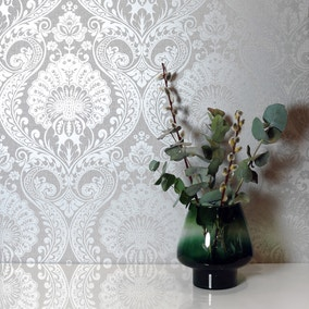 Luxe Silver Damask Wallpaper