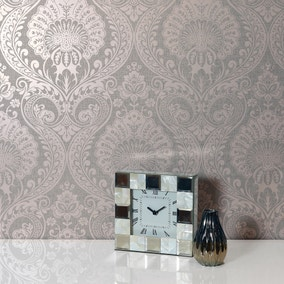 Luxe Dusky Rose Damask Wallpaper