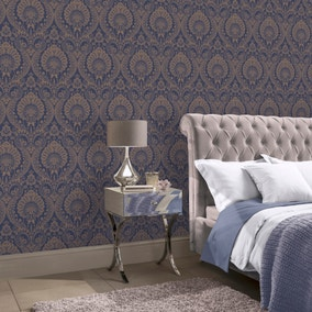 Luxe Navy Damask Wallpaper