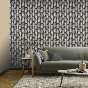 Glam Feather Charcoal Wallpaper