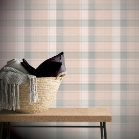 Country Check Pink Wallpaper