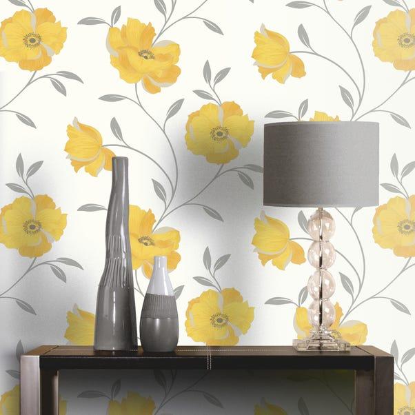 Sophia Yellow Floral Wallpaper Yellow
