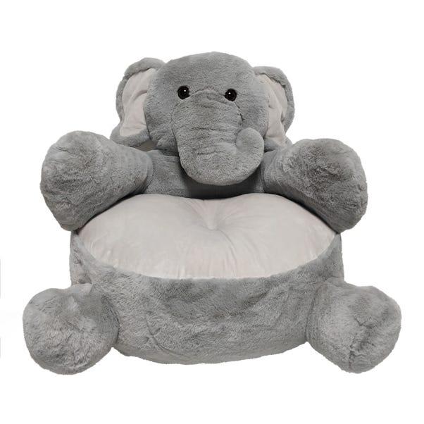 Elephant Sitting Plush Grey