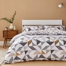 Elements Bako Reversible Geometric Natural Duvet Cover and Pillowcase Set