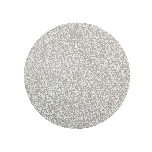 Set of Four Denby Monsoon Filigree Silver Round Placemats Silver