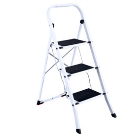3 Step White Stepladder