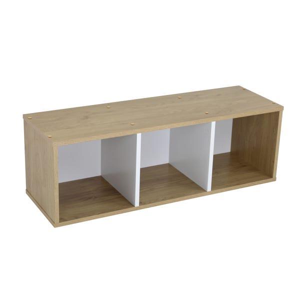 Rome Modular 3 Cube White and Oak Finish Floor Standing Shelving Unit Brown
