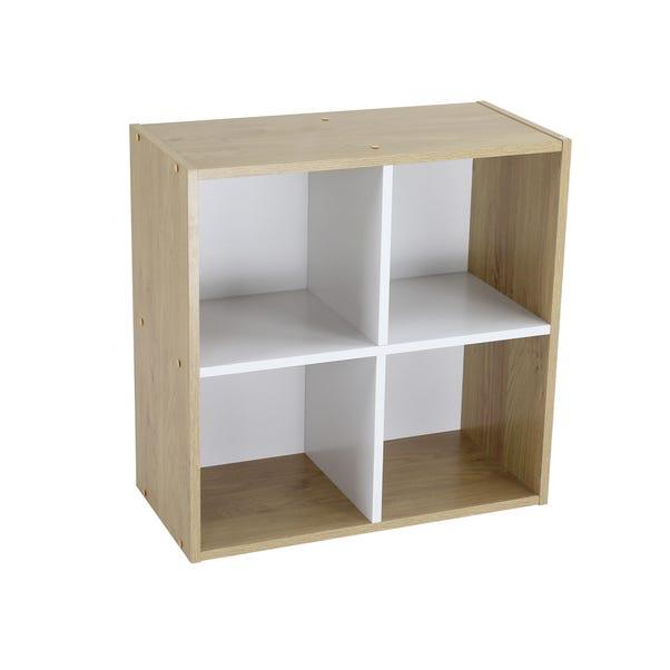 Rome Modular 4 Cube White and Oak Finish Cube Shelving Unit Brown