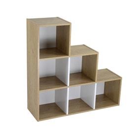 Rome Modular 6 Cube White and Oak Finish Cube Shelving Unit