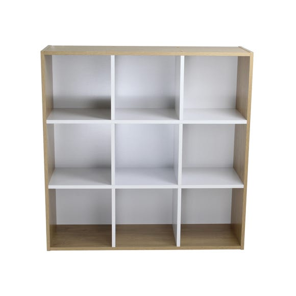 Rome Modular 9 Cube White and Oak Finish Cube Shelving Unit