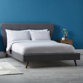 Mid Century Upholstered Bed - Dark Grey