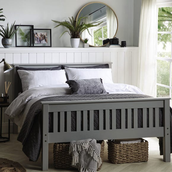 Shaker Style Wooden Bed - Grey  undefined