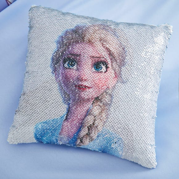 Frozen 2 Anna and Elsa Alternating Image Sequin Cushion MultiColoured