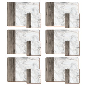 Set of 6 Marble Effect Placemats and Coasters