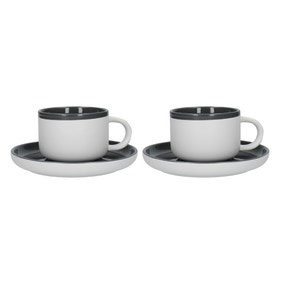 La Cafetiere Barcelona Cool Grey Pack of 2 Teacups and Saucers