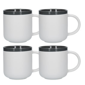 La Cafetiere Barcelona Cool Grey Pack of 4 Latte Mugs