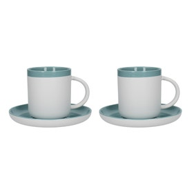 La Cafetiere Barcelona Retro Blue Pack of 2 Espresso Cups and Saucers