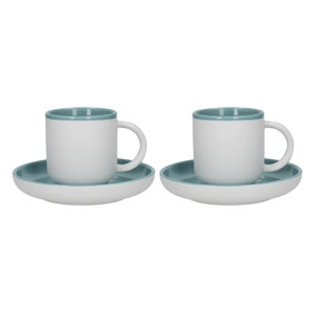 La Cafetiere Barcelona Retro Blue Pack of 2 Coffee Cups and Saucers