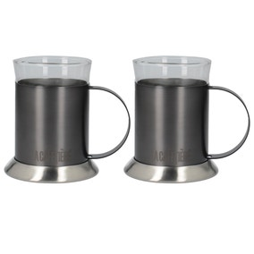 La Cafetiere Set of 2 Brushed Gunmetal Glass Cups