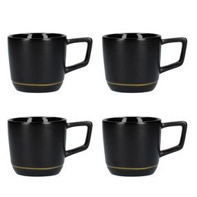 La Cafetiere Set of 4 Black Espresso Mugs
