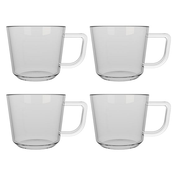 La Cafetiere Set of 4 Large Brygga Glass Mugs Clear