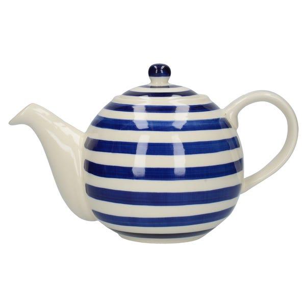 London Pottery Blue Stripe Teapot Blue