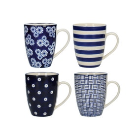 London Pottery Set of 4 Blue Tulip Mugs