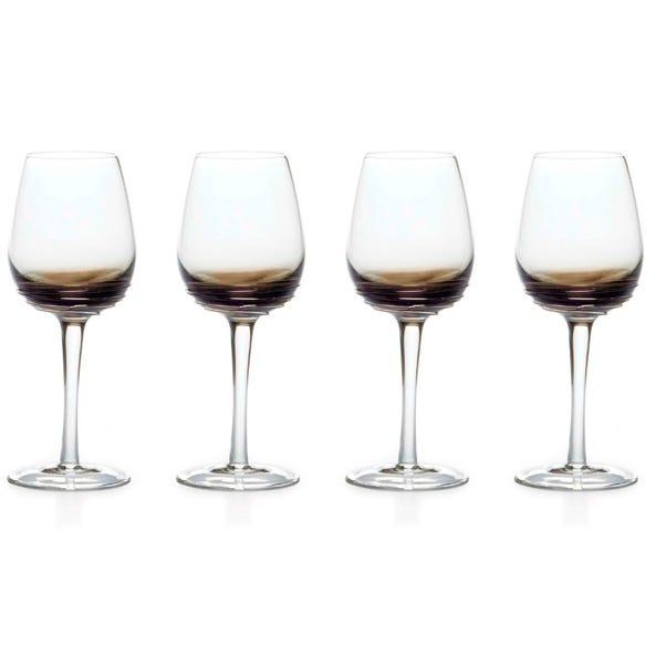 Mikasa Swirl Smoke Set of 4 White Wine Glasses Clear