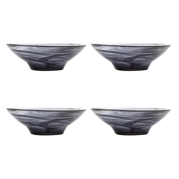 Maxwell & Williams Marblesque Set of 4 19cm Black Bowls Black