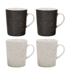Maxwell & Williams Constellation Set of 4 Black and White Mugs