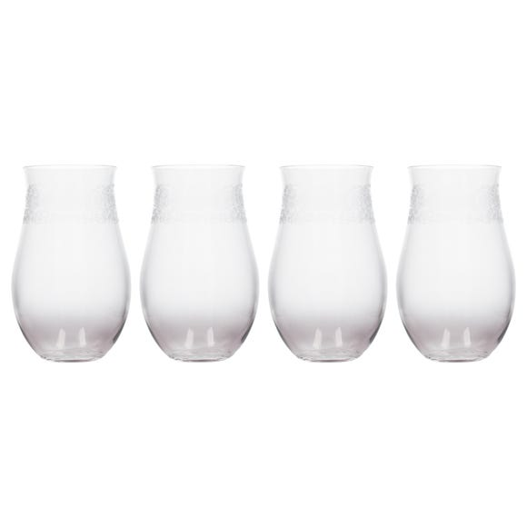 Katie Alice Set of 4 Etched Ombre Stemless Wine Glasses Clear