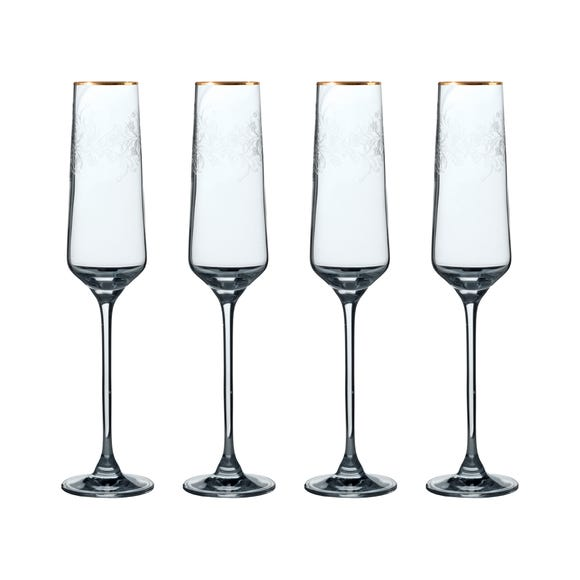 V&A The Cole Collection Set of 4 Champagne Flutes Clear